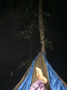I AM GOING TO SLEEP Lying under the stars at night, In the warm night air. Thinking of animals, That might be near by, Caused no hesitation, For this nature lover. All wrap up as in a cocoon. Enjoying the nature God had provided. Music playing in the background. Of all the sounds of the woods. Crickets, a soothing constant. And the toad a spasmodic annoyance. Would, could sleep possibly come. Crickets constant and toads croaking. Bugs flying.  What just fell? I'm relaxed.  I love this. There are no animals around. I am  going to sleep.